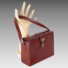 1950s Vintage Brown Leather Box Purse Handbag