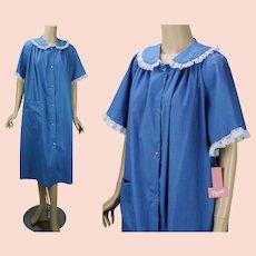 Vintage Housecoat, Blue Denim Lace Trimmed House Dress, Robe NOS by Carole Sz XL