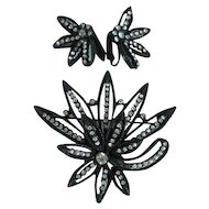 Vintage Demi Parure Black Flower Brooch with Clip On Earring    Clear Rhinestones   Japanned