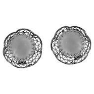 1950s Vintage Clip On Earrings   West Germany Silver Tone Filigree Faux Mother of Pearl
