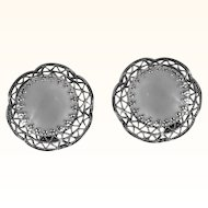 1950s Vintage Clip On Earrings | West Germany Silver Tone Filigree Faux Mother of Pearl
