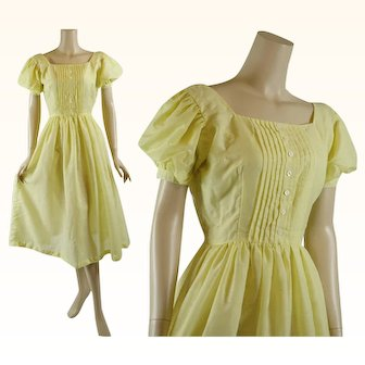 1950s - 1960s Vintage Dress Bright Yellow Full Skirt Organdy with Puff Sleeves B38 W27