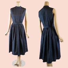 1950s - 1960s Vintage Dress Navy Blue and White Polka Dot | Full Skirt | B38 W27