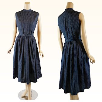 1950s - 1960s Vintage Dress Navy Blue and White Polka Dot | Full Skirt | B38 W27