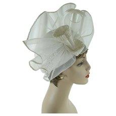 Vintage Hat Church Lady White Polypropylene | Wedding Hat | Sz 22