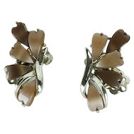 Vintage Earthtone Thermoset Clip On Earrings by Coro Silver-Tone