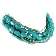 Retro Multi Strand Faux Turquoise Nugget Torsade Adjustable Necklace