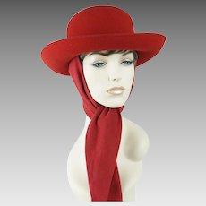 Vintage Hat Bright Red Felt Scarf Breton Sz 22 1/2
