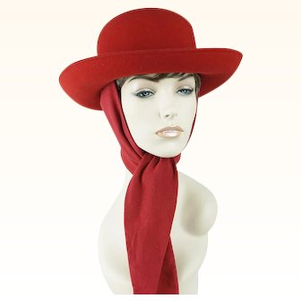 Vintage Hat Bright Red Felt Scarf Breton Sz 22 1/2