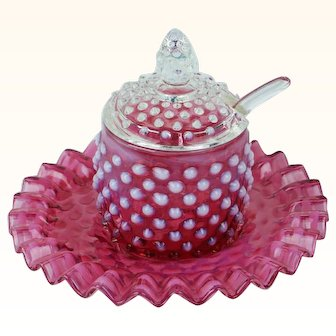 1950s Vintage Fenton Cranberry Opalescent Hobnail Jam Set | 4 Pieces