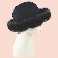 846fc0692d5 1990s Vintage Hat Black Wool Cloche with Faux Fur Trim by Betmar Sz 22 1