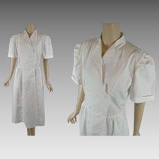 1980s Vintage Uniform White Cotton Waitress | Nurse | Medical | Crest | Sz 18