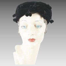 1950s Vintage Hat Black Velvet Ball Fringe Pillbox by Vicki Jo