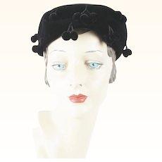 1950s Vintage Hat Black Velvet Ball Fringe Pillbox by Vicki Jo