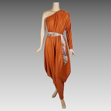 1970s Vintage Disco Jumpsuit Bronze One Shoulder Harem Pants Party by Lady McGuire Sz 9/10