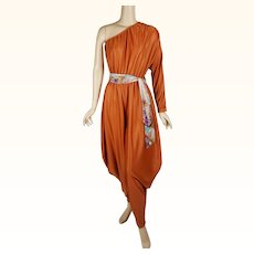 1970s Vintage Disco Jumpsuit Bronze One Shoulder Harem Pants Party by Lady McGuire Sz 9/10