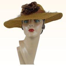 1940s Vintage Hat Novelty Braid Straw Wide Brim Sz 20 1/2 NOS