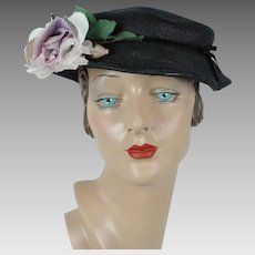 1950s Vintage Hat Black Straw Wavy Brim with Lilac Rose Sz 20