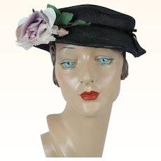 1950s Vintage Hat Black Straw Wavy Brim with Lilac Rose Sz 20