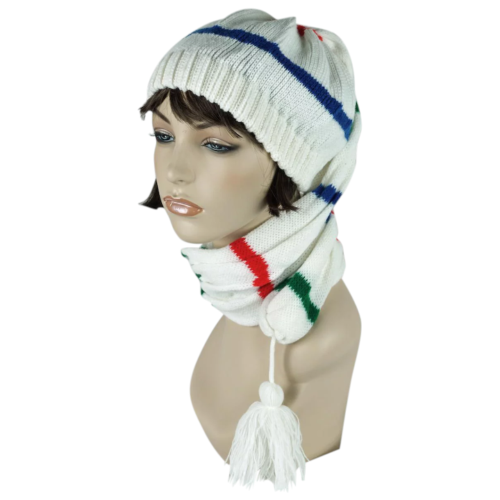 193cdacdf4b619 Vintage White Striped Knit Toboggan Hat Stocking Cap by Betmar : Alley Cats  Vintage | Ruby Lane