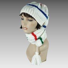 Vintage White Striped Knit Toboggan Hat Stocking Cap by Betmar