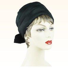 1970s Vintage Hat Black Silk Turban Style | Hahne & Co | Sz 22