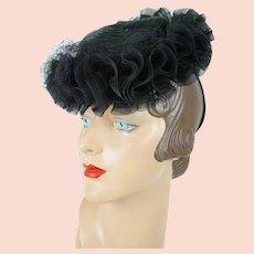 1940s Vintage Hat Black Ruffled Net Straw Tilt | New York Creations