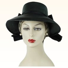 1960s Vintage Hat Black Straw Wide Brim with Huge Satin Bow Bloomingdales Sz 22