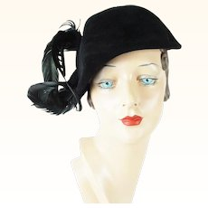 1950s Vintage Hat Black Velour Asymmetrical Feathered Cocktail by Arnold Constable Sz 21 1/2