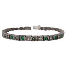 Vintage Art Deco Sterling Emerald Green and Clear Rhinestone Tennis Bracelet