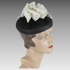 1960s Vintage Hat Valerie Modes Black Straw Pillbox with White Fabric Embellishment NOS