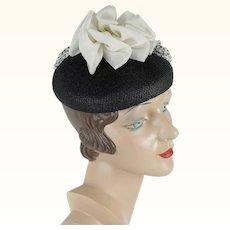 1960s Vintage Hat Valerie Modes Black Straw Pillbox with White Fabric Embellishment NOS