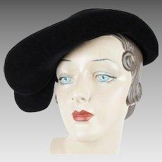 Vintage Borsalino Hat Black Felt Asymmetrical Cap w/ Hatpin Sz 21