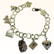 Vintage 14K Gold Double Link Chain Charm Bracelet 6 Charms 7 Inch