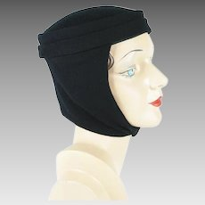 Vintage Scarf Hat Black Felt and Knit Winter Cap Sz 21