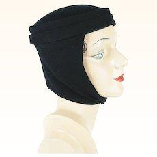 Vintage Scarf Hat Black Felt and Knit Winter Cap Sz 21