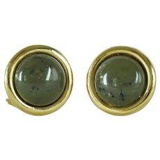 Vintage Les Bernard Clip On Earrings Dark Green Buttons