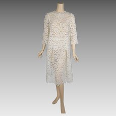 1960s Vintage Party Dress Ivory Lace 2 Piece Set Sheer B38 W26-34