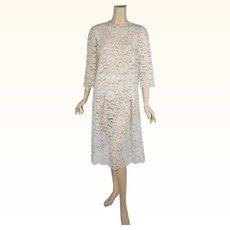 1960s Vintage Party Dress Ivory Lace 2 Piece Set Sheer B38 W26-34