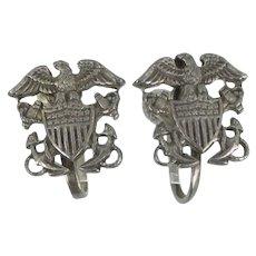 Vintage Earrings Sterling Navy Naval Sweetheart Screw Backs
