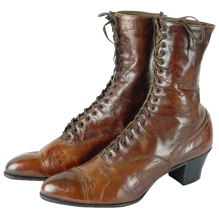 9cdeaeb617 1900s Victorian Ladies Brown Leather Lace Up High Top Boots | Godmans :  Alley Cats Vintage | Ruby Lane