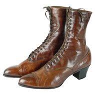 1900s Victorian Ladies Brown Leather Lace Up High Top Boots | Godmans