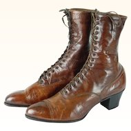 1900s Victorian Ladies Brown Leather Lace Up High Top Boots   Godmans