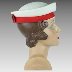 1960s Vintage Hat White Straw Sailor with Red Band Breton Style by Betmar