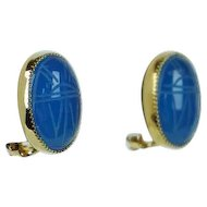 Vintage Blue Scarab Clip On Earrings PAJ