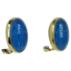 Vintage Blue Scarab Clip On Earrings PAJ