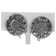 Vintage Sterling Silver and Rhinestone Button Clip On Earrings