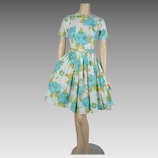 1960s Vintage Dress Seafoam Floral Full Skirt | Lazarus | B36 W26