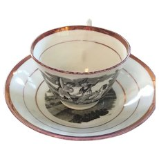Luster Cup and Saucer with Scene