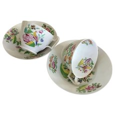 Cup & Saucer (2) - Floral & Bird Luster